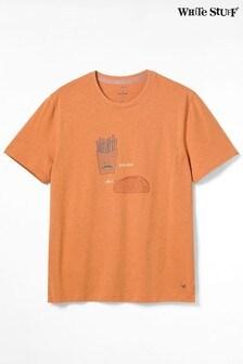 White Stuff Orange Bonjour Graphic Organic T-Shirt