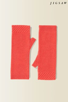 Jigsaw Orange Velvet Cashmere Mittens