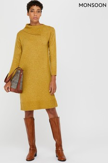 Monsoon Yellow Perrie Nep Jumper Dress