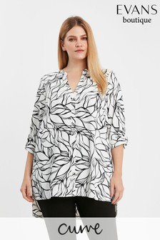 Evans Curve Ivory Printed Shirt