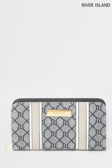 River Island Grey Monogram Fold Out Purse
