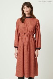 French Connection Brown Caprice Long Sleeve Waist Dress