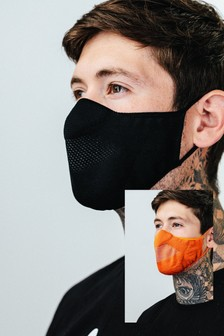Hype. Adults Black/Orange Knit Face Coverings Two Pack
