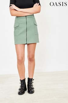 Oasis Green Zip Utility Mini Skirt