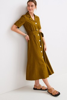 Linen Mix Shirt Dress