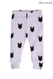 Tobias & The Bear Purple Lilac Fox Organic Cotton Leggings