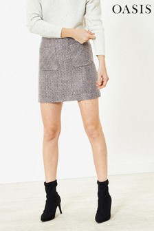 Oasis Blue Tweed Mini Skirt
