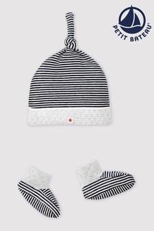 Petit Bateau Navy And White Stripe Hat And Socks Set