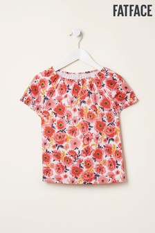FatFace Washed Red Poppy Print Blouse
