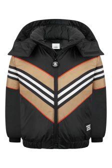 Kids Black Icon Stripe Padded Jacket