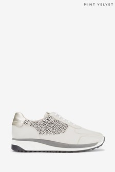 Mint Velvet Grey Alina Spot Leather Trainers