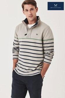 Crew Clothing Green Drop Stripe Padstow Sweatshirt