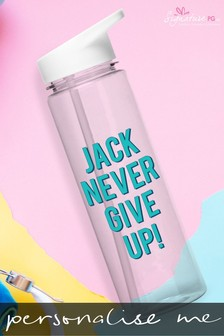 Personalised Never Give Up Water Bottle by Signature PG