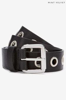 Black Eyelet Leather Belt