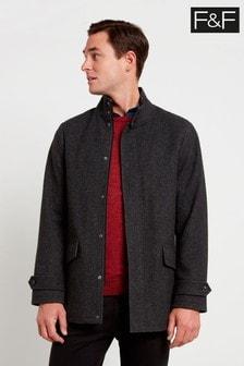 F&F Grey Funnel Neck Texture Coat