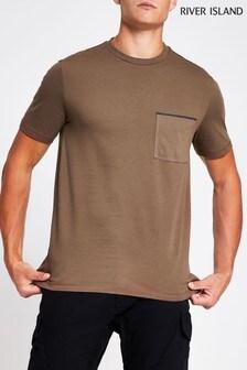 River Island Brown Light Clean Pocket T-Shirt