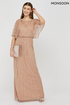 Monsoon Pink Angelina Embroidered Maxi Dress