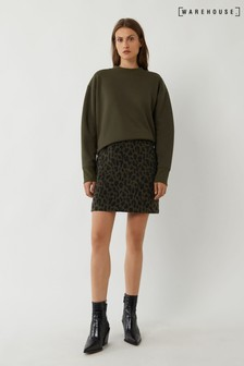 Warehouse Green Brushed Animal Pelmet Skirt
