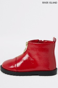 River Island Red Zip Front Cleated Boots