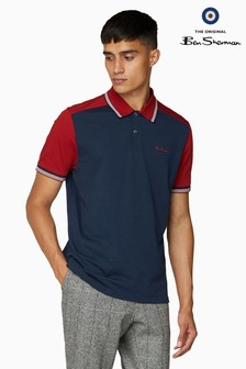 Ben Sherman Navy Cut And Sew Block Polo