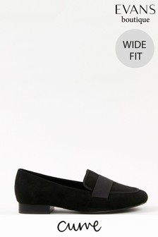 Evans Curve Wide Fit Black Loafers