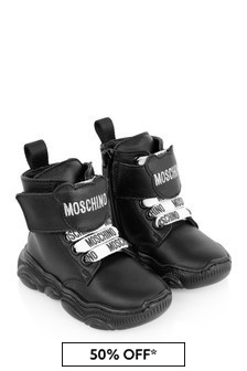 Moschino Kids Black Leather Teddy Boots