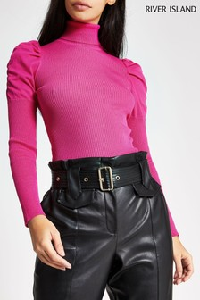 River Island Pink Kourtney Puff Sleeve Roll Jumper