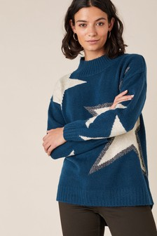 Monsoon Blue Outline Star Jumper