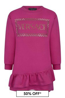 Girls Fuchsia Cotton Sweater Dress