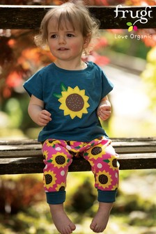 Frugi GOTS Harem Style Trousers In Pink With Sunflower Print