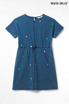 White Stuff Blue Kids Mini Sadie Embroidered Dress