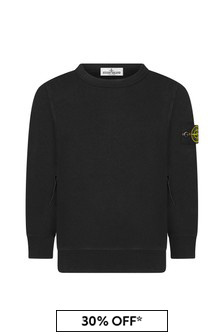 Boys Black Cotton Sweater