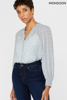 Monsoon Blue Hatty Horseshoe Print Blouse