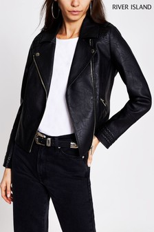 River Island Black Whip Stitch Biker Jacket