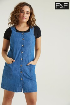 F&F Denim Button Through Pinny Dress