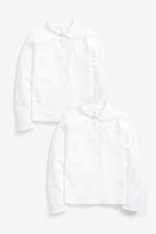 2 Pack Cotton Long Sleeve Polo Shirts (3-16yrs)