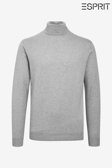Esprit Grey Cotton Cashmere Roll Neck Sweater