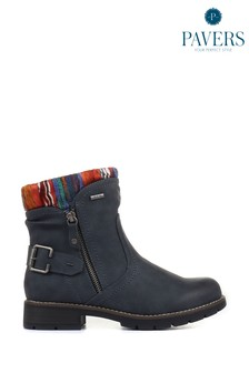 Pavers Navy Ladies Water Resistant Ankle Boots