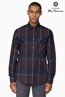Ben Sherman Red Long Sleeve Blocked Gingham Shirt