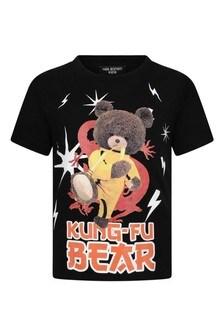 Boys Black Cotton Teddy Print T-Shirt