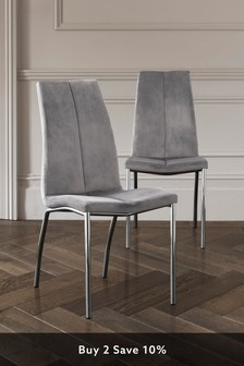 Set of 2 Opus Dining Chairs with Chrome Legs