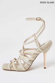 River Island Beige Heatseal Detail Sandals