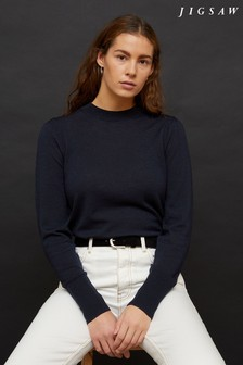 Jigsaw Blue Fine Knit Puff Sleeve Jumper