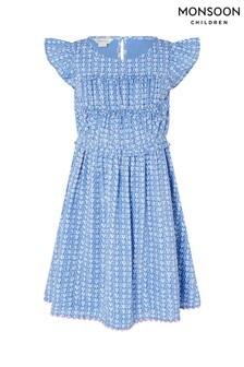 Monsoon Blue Heart Print Dress