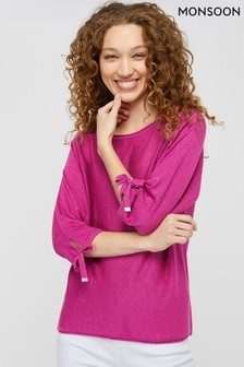 Monsoon Pink Tara Tie Linen Blend Jumper
