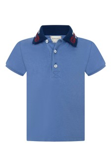 GUCCI Kids Baby Boys Blue Piquet Embroidered Collar Polo Top