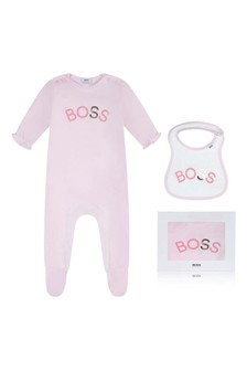 Girls Pink Cotton Babygrow Two Piece Set