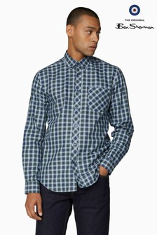 Ben Sherman Blue Long Sleeve Twill Tartan Shirt