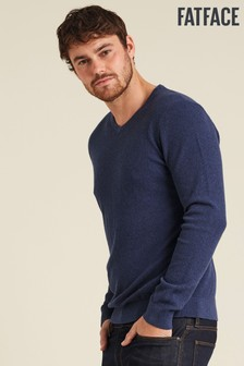 FatFace Blue Cotton Cashmere Stitch Vee Jumper