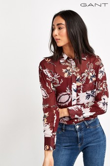 GANT Womens Red Paisley Chiffon Blouse
